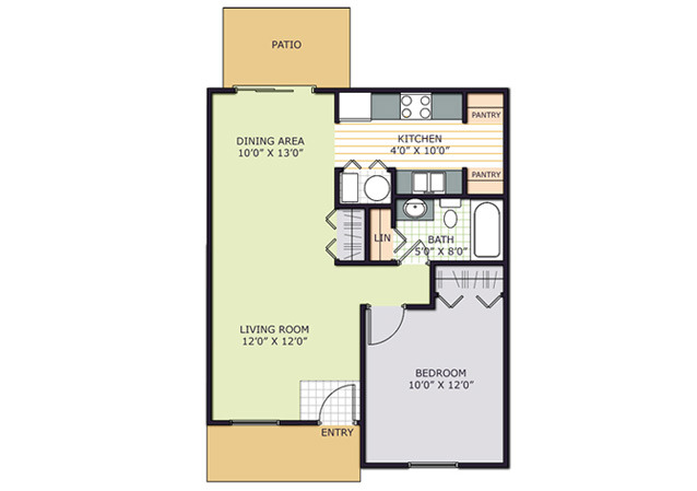 1 Bedroom/1 Bath floor plan